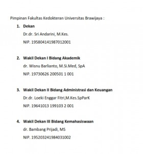 Pimpinan Fakultas Kedokteran Universitas Brawijaya_001