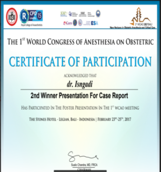 dr. Isngadi, M.Kes., Sp.An, KAO pemenang oral presentasi pada acara The 1st World Congress of Anesthesia on Obstetric 2