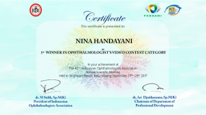 dr. Nina Handayani, Sp. M (K) 1st Winner in Ophthalmologist's Video Contest PIT PERDAMI 42 Tahun 2017 2
