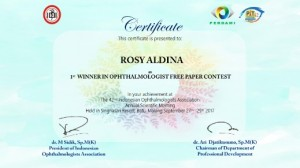 dr. Rosy Aldina, Sp.M(K) 1st Winner in Ophthalmologist's Free Paper PIT PERDAMI 42 Tahun 2017 1